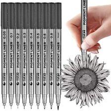 Black Micro-Pen Fineliner Ink Pens, Set of 9 Various Size Tip, Drawing Pens