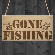 Gone Fishing Dad Fisherman Grandad Friends Gift Hanging Plaque Fishing Home Sign