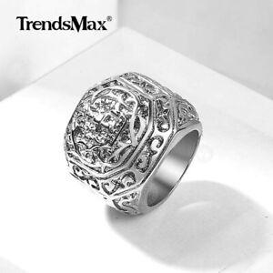 Male Ring Stainless Steel Ring Carved Cross Signet Ring Men Valentine's Gift