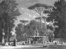 ROME. Fountain, Borghese Gdns 1872 old antique vintage print picture