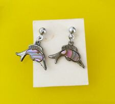 DOLPHIN ABALONE DANGLE .925 SILVER EARRINGS /Genuine ABALONE SHELL / NEW!