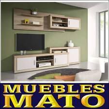 MUEBLE DE SALON LARA CAMBRIAN Y BLANCO MATE - LIBRERIA TV SALA COMEDOR OFICINA