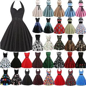 Dame Kleid 50er 60er Vintage Jahre Rockabilly Party Neckholder Petticoat Kleider