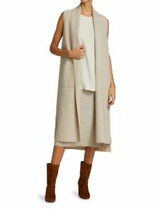 NWT Eileen Fisher Long Wool Shawl Collar Vest Maple Oat M $298   Dry Clean Only!