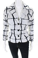 Paula Hian Womens Long Sleeve Davaney Blazer Jacket White Navy Blue Size Small
