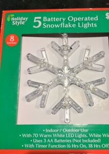 5 Battery Operated Snowflake Lights New Free Ship