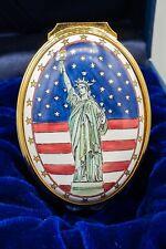 Halcyon Days Enamel Trinket Box Statue of Liberty American Flag Exclusive