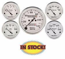 "Auto Meter Old Tyme White Mechanical 5 Gauge Set 3-1/8"" Speedometer 1601"
