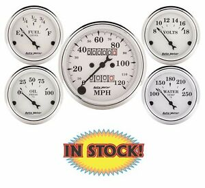 """AutoMeter 1601 - Old Tyme White Mechanical 5 Gauge Kit - 3-1/8"""""""