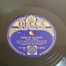 "Sylvia Robin & Tudor Evans Down In The Glen (Decca F.9173) 10"" 78rpm Excellent"