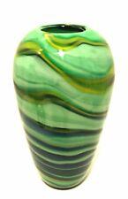 Art Glass Vase Ribbon Swirl Green Blue Black Yellow Hand Blown 9 inches Tall