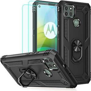 For Motorola G9 Power Case Shockproof Ring Armor Phone Cover + 9H Tempered Glass
