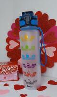 Lion 34oz Motivational Water Bottle Time Marker Leak-Proof BPA Free