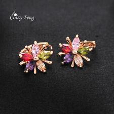 Women's 18K Gold Plated Colorful Cubic Zirconia Crystal Flower Hoop Earrings
