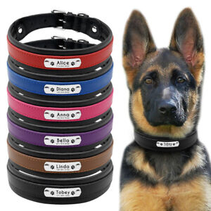 Black Genuine Leather Dog Collar Large Personalized Dog Collar with Free Engrave