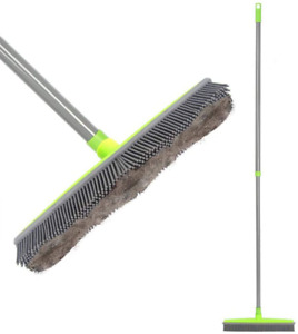 """Push Broom Long Handle Rubber Bristles Sweeper Squeegee Edge 54"""" Non Scratch"""
