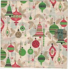 1950s Christmas Decorated Wrapping Paper 'Ornaments' -2 Sheets with Original Tag
