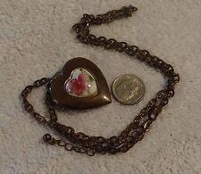 Vintage Necklace Locket with Center Porcelain Painted Violet w Leaves