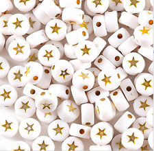 ⭐ 200 BEAUTIFUL WHITE ROUND SPARKLY GOLD STAR BEADS 7mm + FAST FREE P&P ⭐