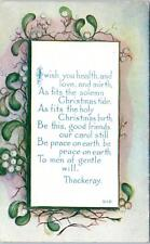 ARTS & CRAFTS Style  GREETING by Owen CHRISTMAS Quote Thackeray 1913    Postcard