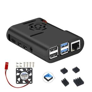 Raspberry Pi 4 Set Gehäuse mit Lüfter und Kühlkörper ABS neues Design schwarz