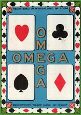 ORIGINAL  VINTAGE  EXPORT FABRIC LABEL - OMEGA PLAYING CARDS