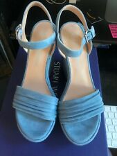 NIB Stuart Weitzman Sundraped Platform Wedge Sandal - Jeans Suede -Size 7