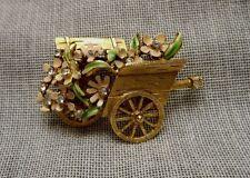 1964 Signed BSK - My Fair Lady Brooch - Flower Cart - Enamel & Rhinestone