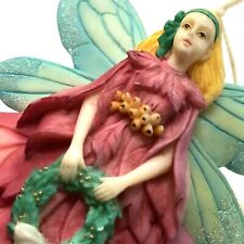 Christmas Fairy with wreath sparkly tree ornament