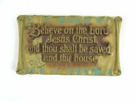 Vintage Zondervan Christian Plaque 1930 Acts 16:31 Believe In The Lord Metal