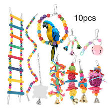 More details for 10 pack parrot set toys metal rope small ladder stand budgie cockatiel cage bird