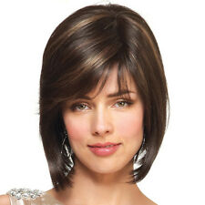 Top Womens Natural Short Straight Bob Front/Full Lace Wig Human Hair Wigs Nature