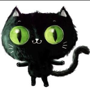 """3"""" Sticker Halloween Fun Black Cat  Cupcake Big Green Eye"""
