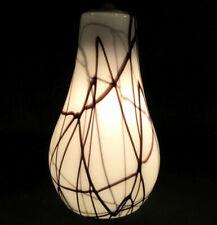 Pair of art glass pendant lights. White w/ black paint swirls. Hanging drop lamp