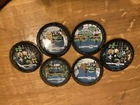 Vintage Disney Tr Set 6 Tray Square Collector Plate/Coaster Walt Disney World