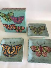 "MWW Ceramic Butterfly Kaleidoscope Mini Plates 4.5"" Square VHTF"