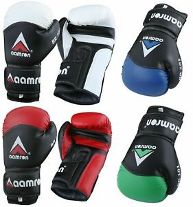 Aamron Leather Boxing Gloves Training Muay Thai Fight Punch Bag Sparring BGR-101