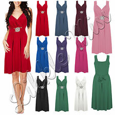Womens Celebs Wrap Over Buckle Ladies Tie Back Sleeveless Party Mini Dress 8-26