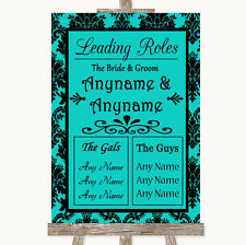 Turquoise Damask Who's Who Leading Roles Personalised Wedding Sign