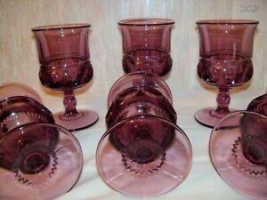6 Amethyst Thumbprint Kings Crown Goblets