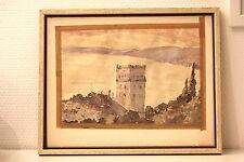 Belle aquarelle XIX ème DOUBLE FACE, 2 paysages lac, chateau, montagne