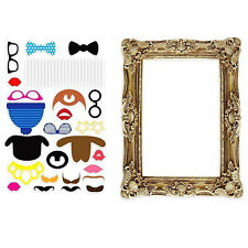 Photo Booth Large Picture Frame with 24PCS Photo Props Funny Faces Party Fun