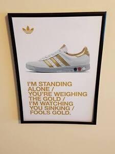 Adidas Grand Slam Trainers Stone Roses 'Fools Gold' Lyrics A4 Framed Poster