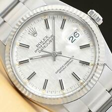 ROLEX MENS DATEJUST LINEN DIAL 18K WHITE GOLD & STEEL WATCH w/OYSTER BAND