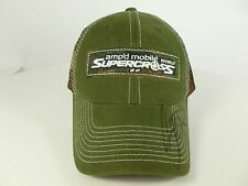 Mens Signed Green Camo Amp'd Mobile World Supercross Hat Cap Motorcycle Racing