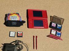 Nintendo DS Lite Red Handheld System charger 6 Games Guitar Hero broken hinge