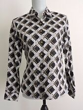 Foxcroft Wrinkle Free Blouse Button Down Shirt Top Shaped 10P Career Black White