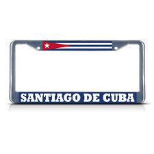 CUBA SANTIAGO DE CUBA Chrome Heavy Metal License Plate Frame Tag Border