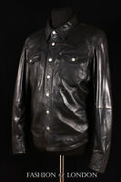 WEST Mens Western Trucker Leather Shirt Cowboy Real Leather Summer Jacket Black