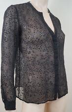 Teoría de Mujer Negro Seda mezcla de camisa Sheer Animal Bordado Blusa Superior Talla: S/P